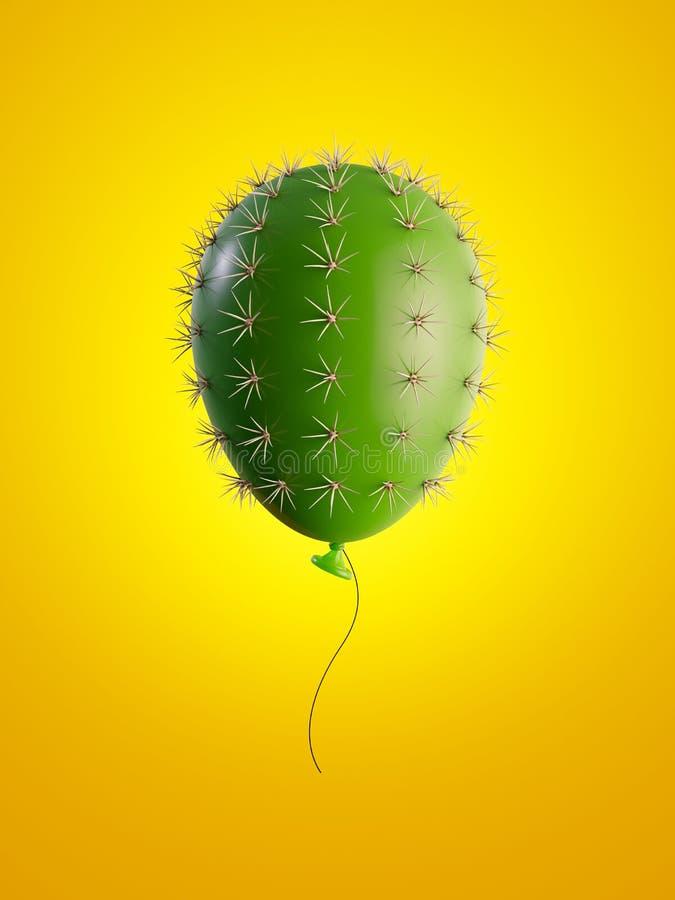 3d geef terug, de groene ballon van de cactuslucht die op gele achtergrond wordt geïsoleerd, metaforisch concept, ontwerpelement, vector illustratie