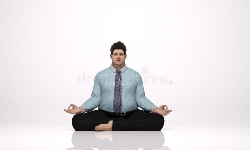 3D geef terug: een jonge te zware zakenmanzitting op de vloer, het mediteren royalty-vrije illustratie