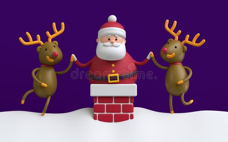 3d geef terug, Santa Claus in de rode baksteenschoorsteen wordt geplakt, teugelherten dat stock illustratie
