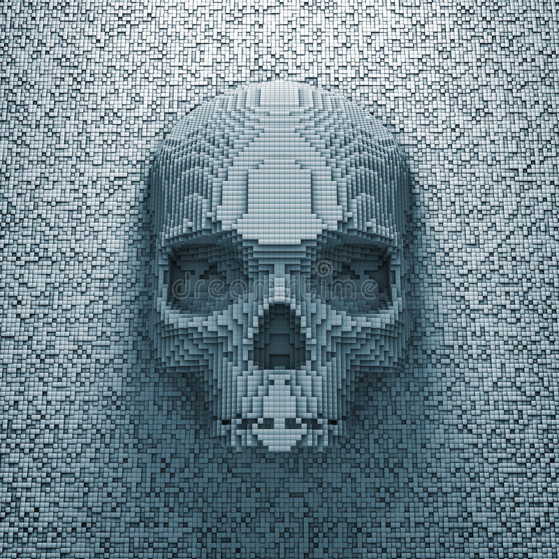 De schedel van het pixel stock illustratie