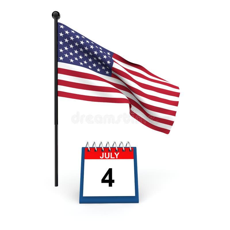 3d geef van Amerikaanse vlag en bureaukalender terug stock illustratie
