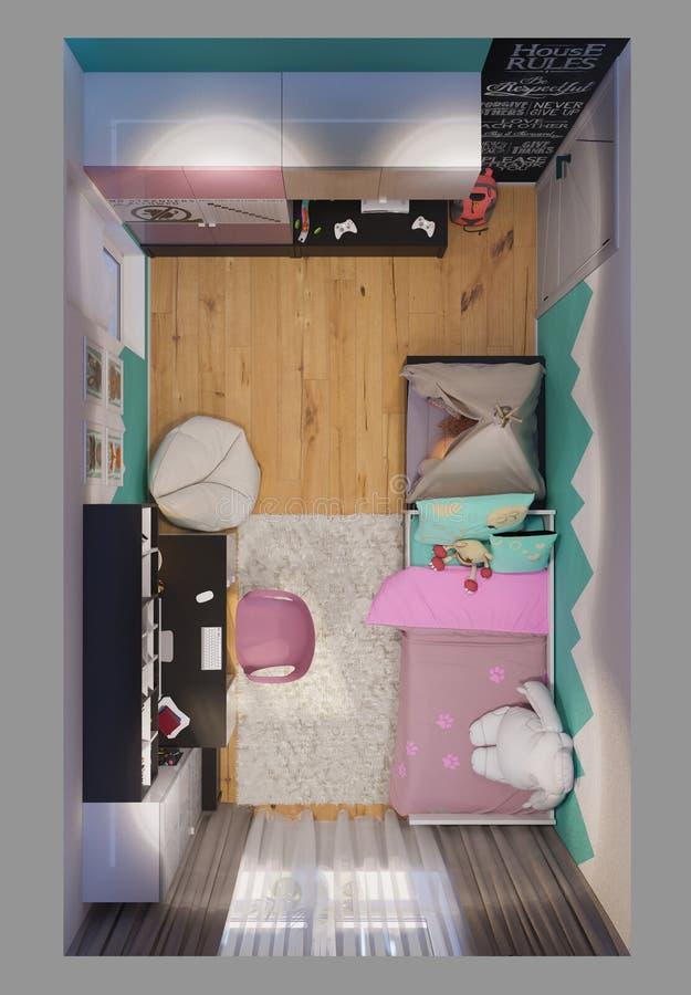 3d geef van binnenlands ontwerp kinderen` s ruimte terug royalty-vrije illustratie