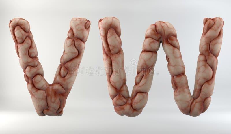 3D geef van Brain Alphabet terug stock illustratie