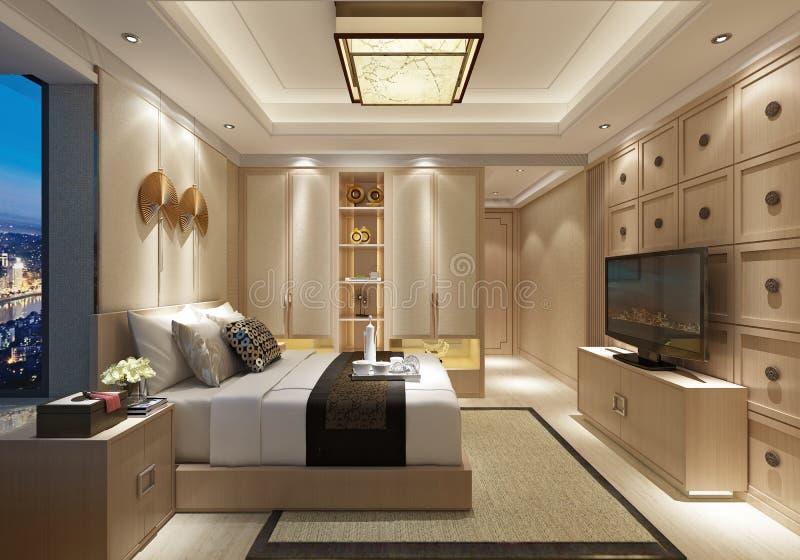 3d geef van de ruimte van het luxehotel terug royalty-vrije illustratie