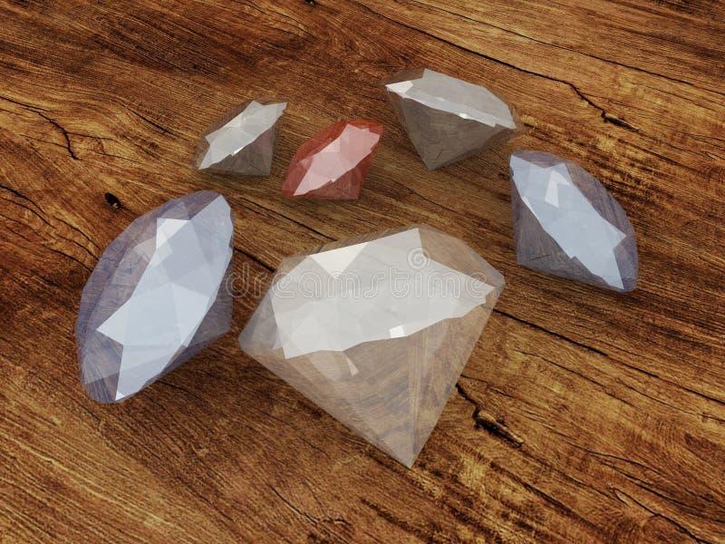3D geef van diamanten op een houten oppervlakte terug stock illustratie