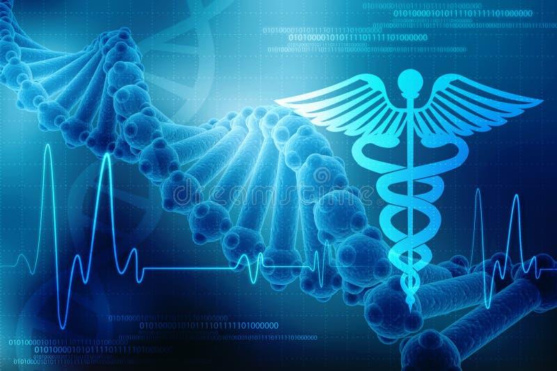 3d geef van DNA-structuur op medische technologieachtergrond terug, Concept biochemie met DNA vector illustratie