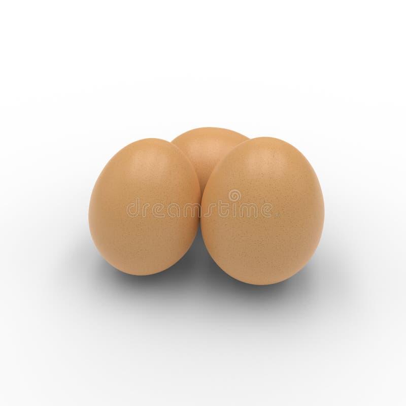 3D geef van drie die eieren terug op wit worden geïsoleerd stock illustratie