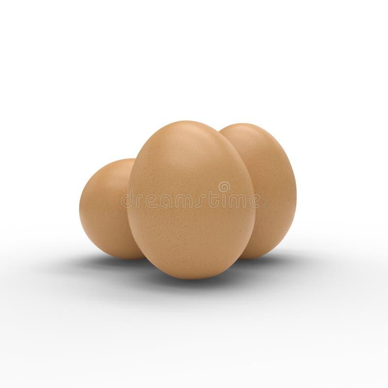 3D geef van drie die eieren terug op wit worden geïsoleerd royalty-vrije illustratie