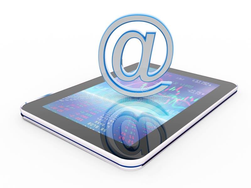 3d geef van e-mailinternet Concept op witte achtergrond terug stock illustratie