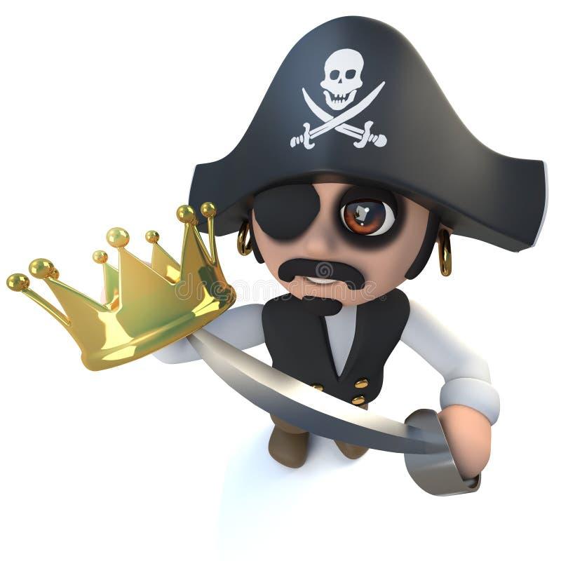 3d geef van een grappig de kapiteinskarakter die van de beeldverhaalpiraat een gouden kroon houden terug vector illustratie