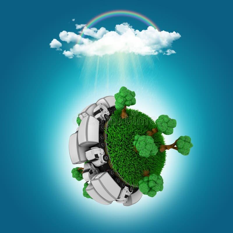 3D geef van een grasrijke bol met vrachtwagens en bomen terug onder een regen c vector illustratie