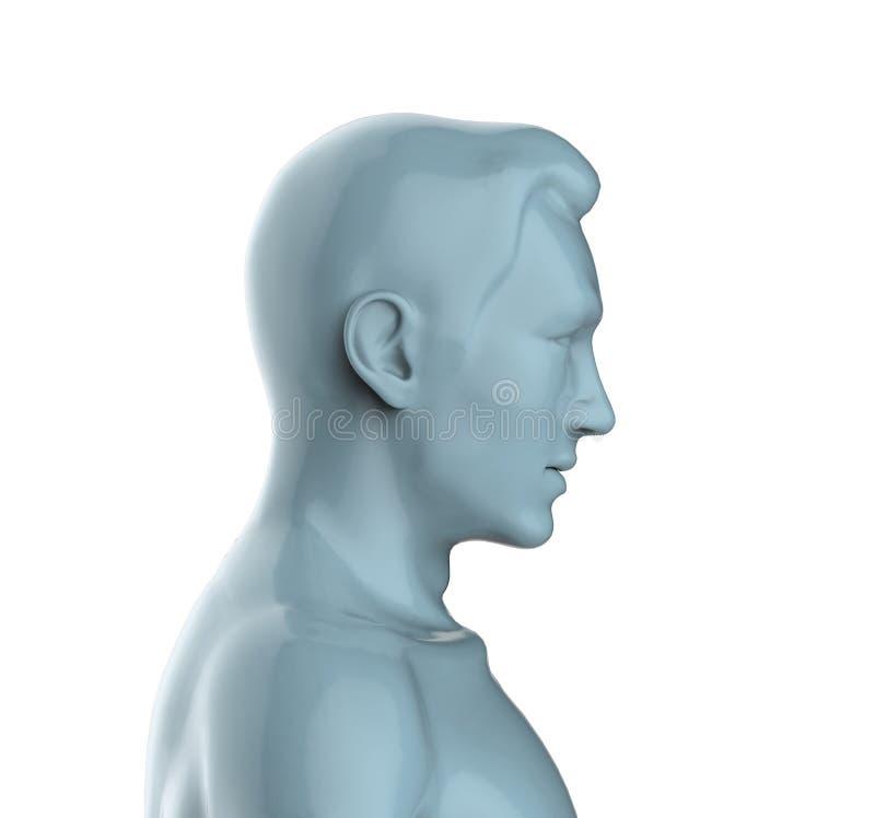 3d geef van een grijs mannelijk hoofd terug vector illustratie