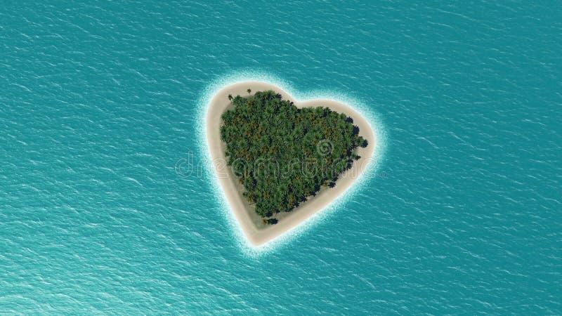 3D geef van een hart gevormd eiland terug vector illustratie