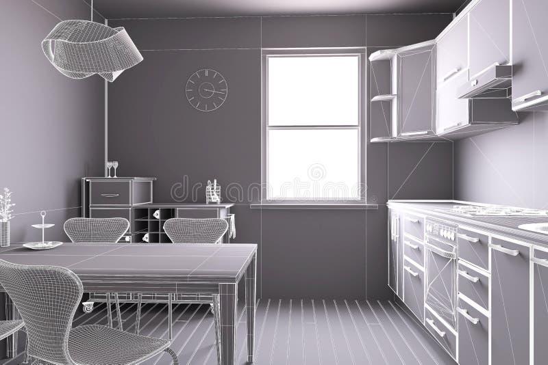 3D geef van een keuken terug stock illustratie