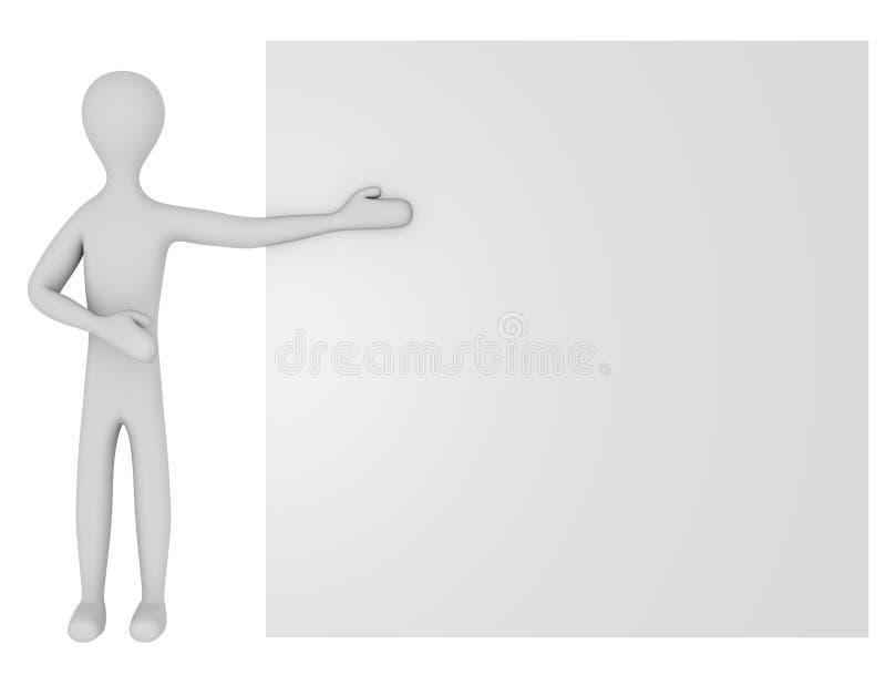 3d geef van een Mannelijk Karakter met een Leeg Teken terug stock illustratie
