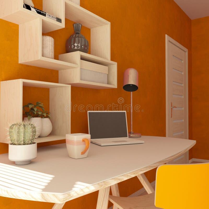 3D geef van een modern huisbureau terug vector illustratie