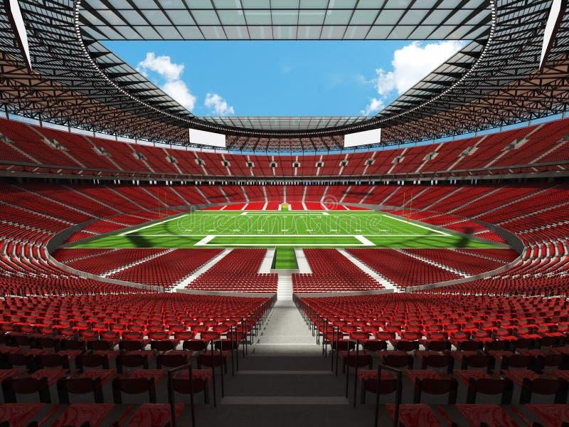 3D geef van een rond Amerikaans voetbalstadion terug met gelezen zetels royalty-vrije illustratie