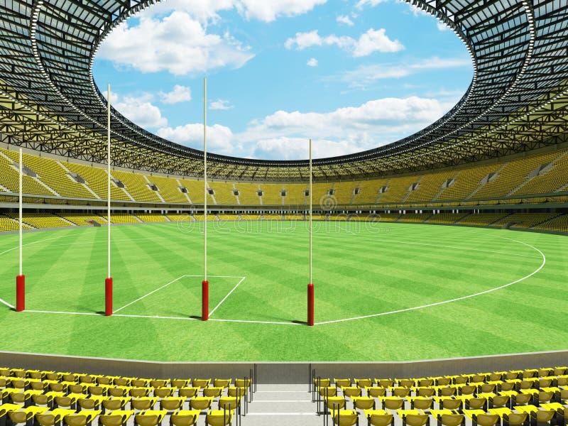 3D geef van een rond Australisch stadion van de regelsvoetbal met gele stoelen terug stock illustratie