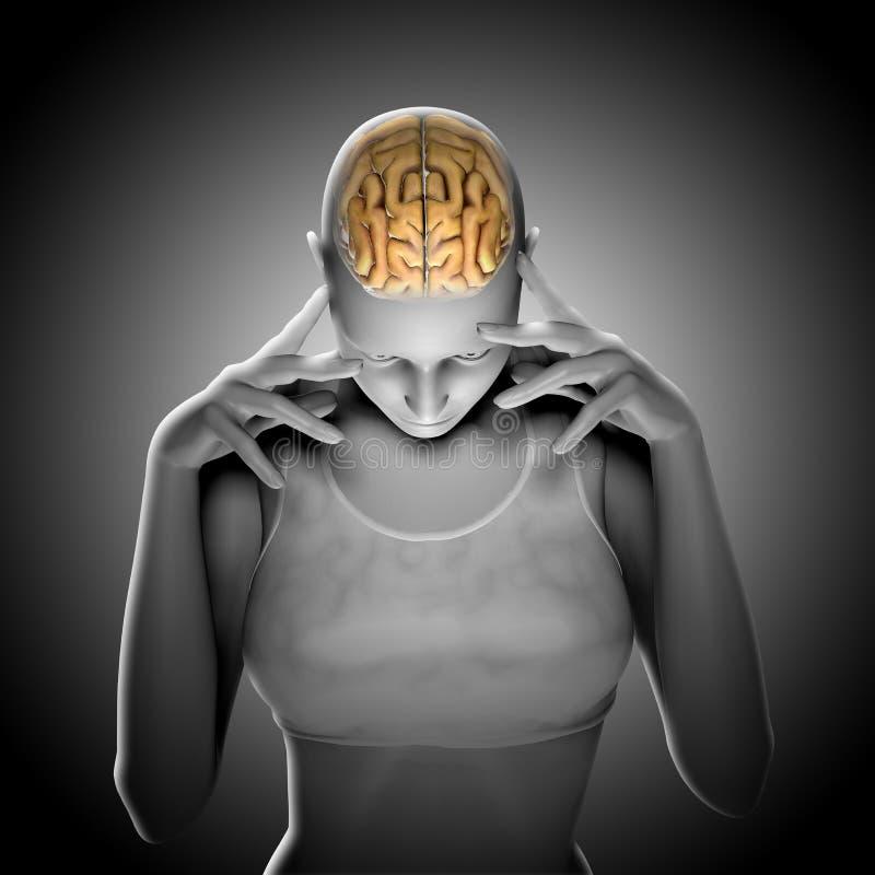 3D geef van een vrouwelijk cijfer terug denkend met benadrukte hersenen royalty-vrije illustratie