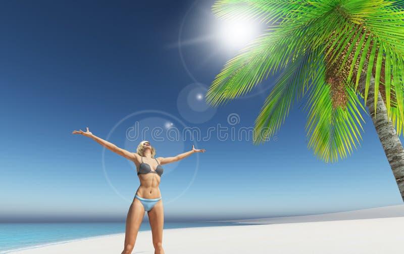 3D geef van een wijfje op een tropisch strand terug royalty-vrije illustratie