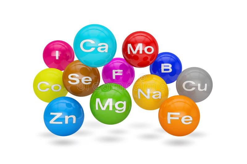 3d geef van essentiële chemische mineralen en micro-elementen terug stock illustratie