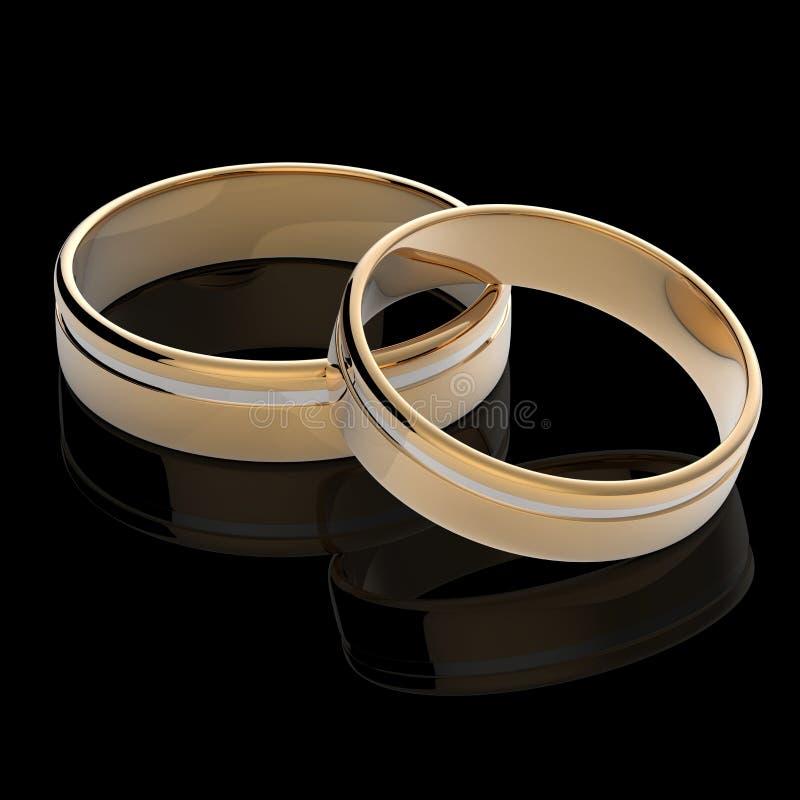 3D geef van gouden trouwringen terug royalty-vrije stock foto's