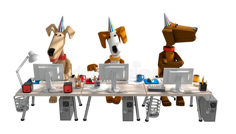 3d geef van grappige leuke honden terug die in het bureau achter comput werken stock illustratie