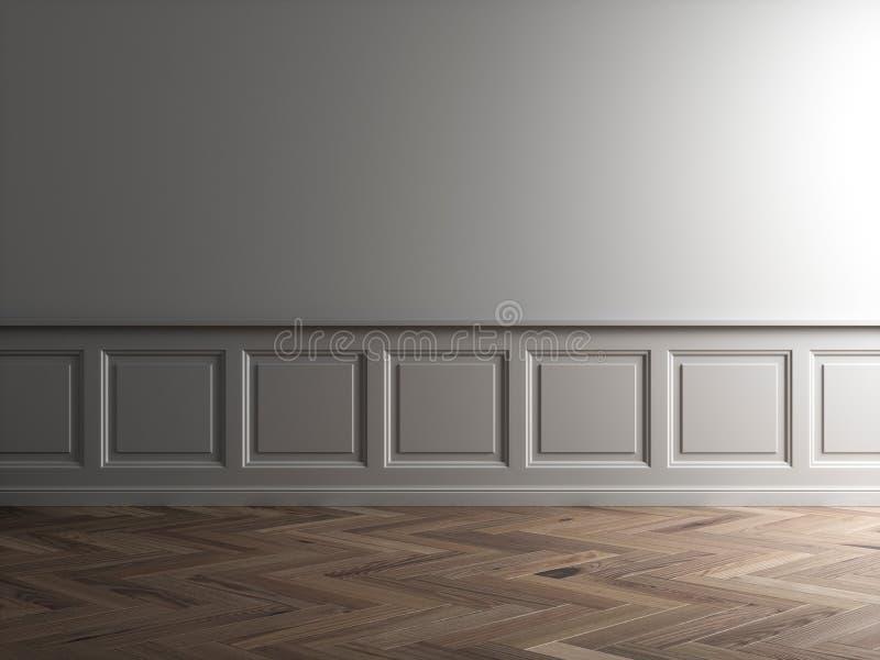 3d geef van grijs binnenland met klassiek panelen en parket terug stock illustratie
