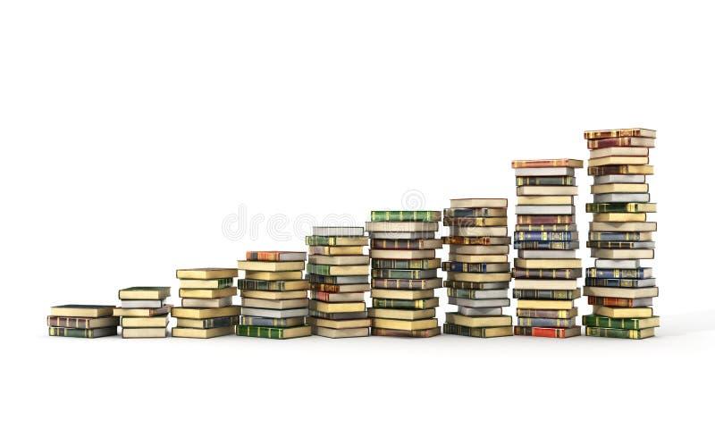 3d geef van grote stapel van kleurrijke boeken terug vector illustratie