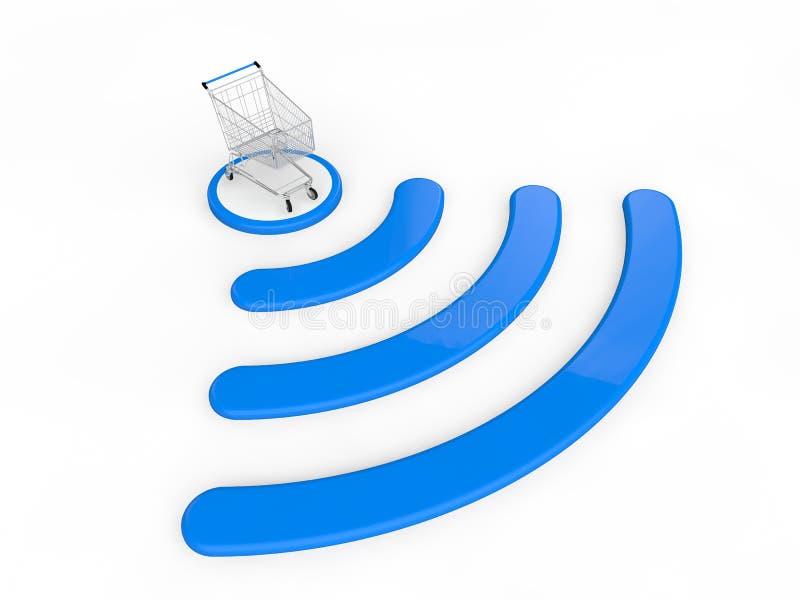3d geef van het winkelen karretje en draadloze signalen terug royalty-vrije illustratie
