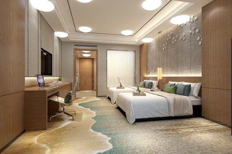 3D geef van hotelruimte terug royalty-vrije illustratie