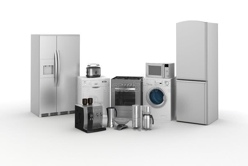 3d geef van huishoudapparaten terug stock illustratie