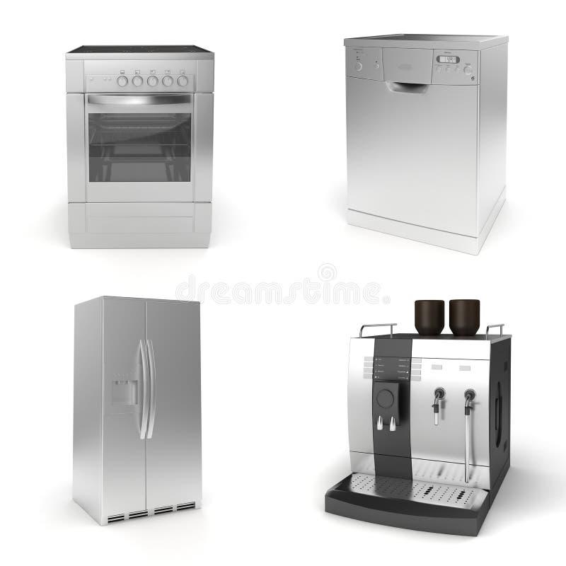 3d geef van huishoudapparaten terug royalty-vrije illustratie