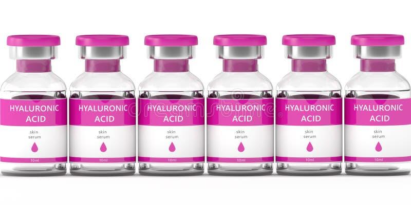 3d geef van hyaluronic zure flesje en spuit terug royalty-vrije illustratie