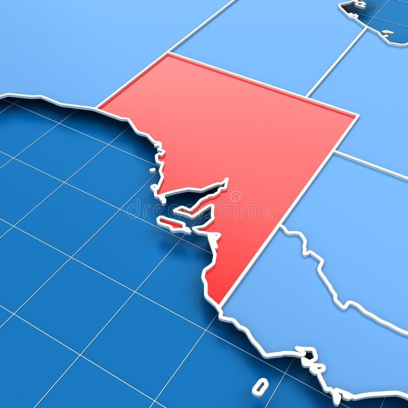 3d geef van kaart de Zuid- van Australië terug