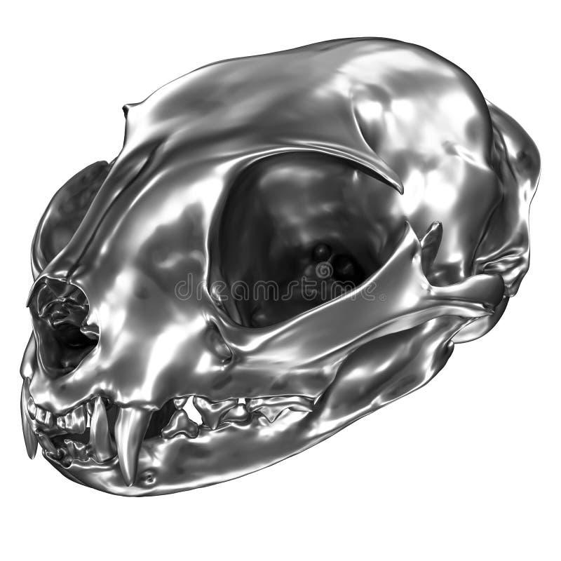 3D geef van metaalcat skull terug royalty-vrije illustratie