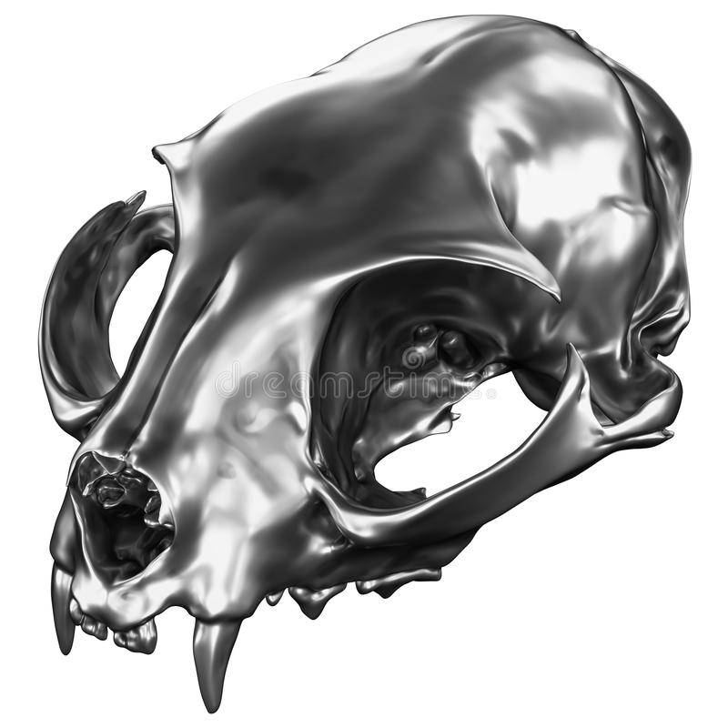 3D geef van metaalcat skull terug stock illustratie