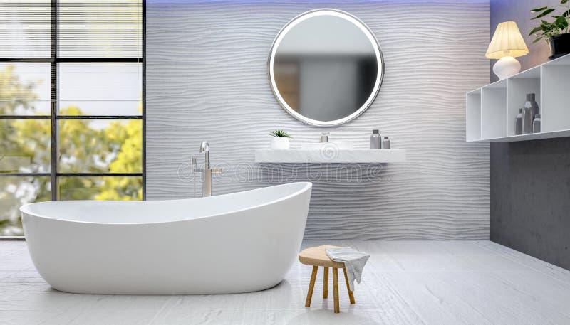 3D geef van moderne badkamers met geweven tegels terug royalty-vrije stock afbeelding