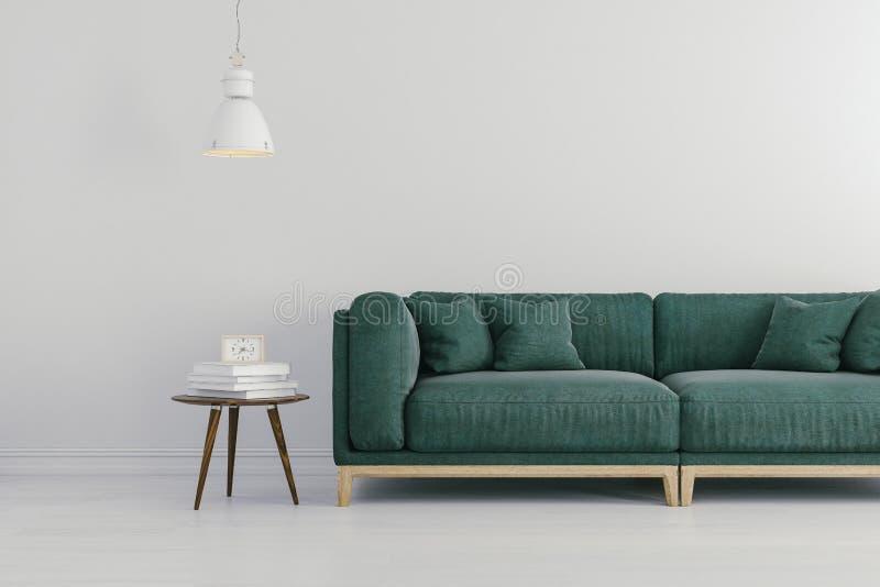 3d geef van mooi binnenland met groene bank en witte muren terug vector illustratie