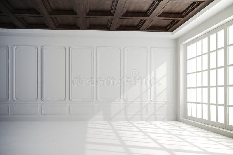 3d geef van mooi binnenland met witte muren en houten plafond terug stock illustratie