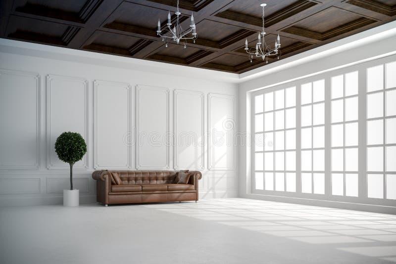 3d geef van mooi binnenland met witte muren en houten plafond terug royalty-vrije illustratie
