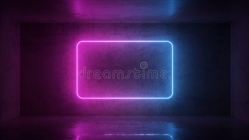3d geef van neonkader terug op achtergrond in de ruimte Bannerontwerp Retrowave, synthwave, vaporwave illustratie stock afbeeldingen