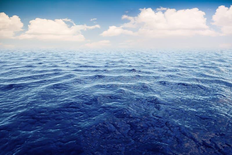 3d geef van oceaan en mooie blauwe hemel terug stock illustratie