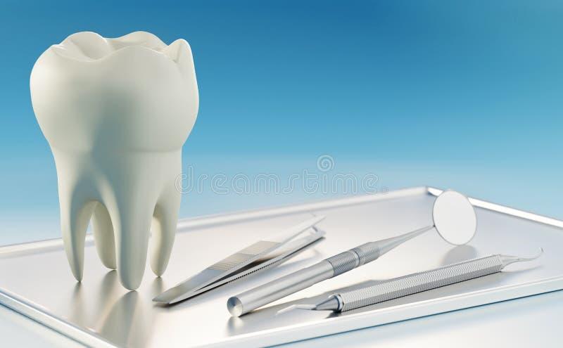 3D geef van overmaatse menselijke tand en tandhulpmiddelen op zilveren dienblad terug stock afbeeldingen