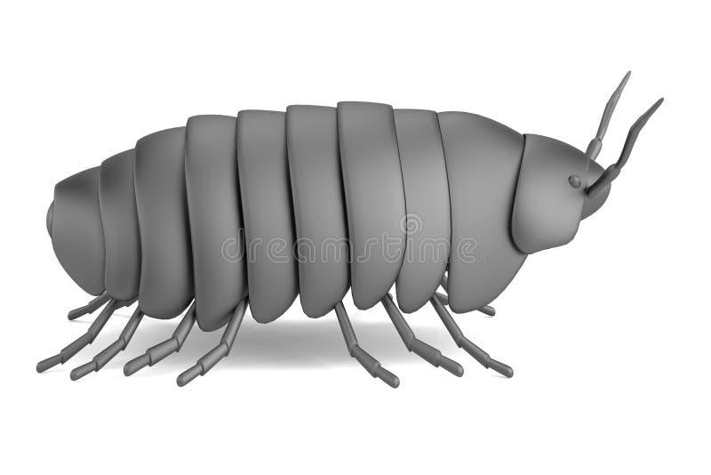 3d geef van pillbug terug vector illustratie