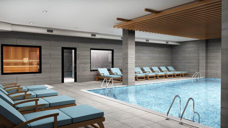 3D geef van pool, kuuroord en wellnesscentrum terug royalty-vrije illustratie