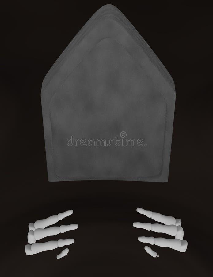 3d geef van Skelethanden die uit een Graf komen terug vector illustratie