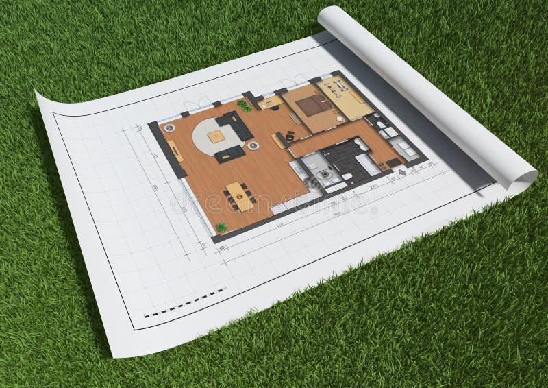 Het plan van de vloer in gras vector illustratie