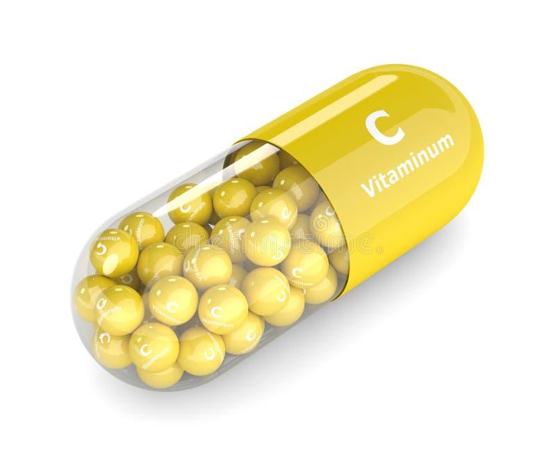 3d geef van vitamine Cpil terug met korrels stock illustratie