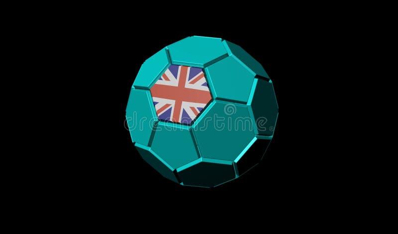 3D geef van voetbalbal Britse Union Jack-vlag terug vector illustratie